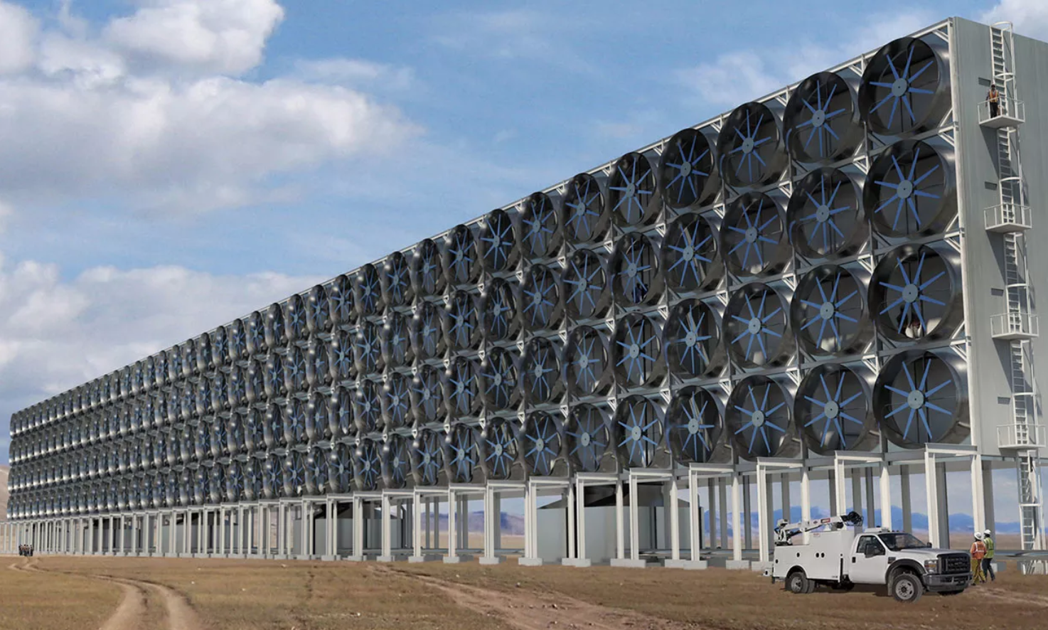 A direct air capture machine (or at least an artist's rendering) via CarbonEngineering.com