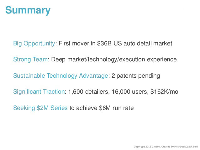 Summary Pitch Deck Slide